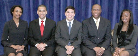 2010 Business Law CLEO Fellows are (from left) Nicole Lester, Mauricio Benavides, Larry Sandigo, Kevin Johnson and Uchenna Ibekwe