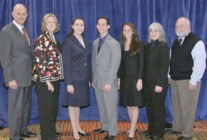 Section officers and Mendes Hershman Student Writing Competition winners are (from left) Nathaniel L. Doliner, chair; Lynne B. Barr, chair-elect; Alexandra Newman; Duty Greene; Sabrina Ursaner; Linda J. Rusch, vice chair; and Martin E. Lybecker, secretary.