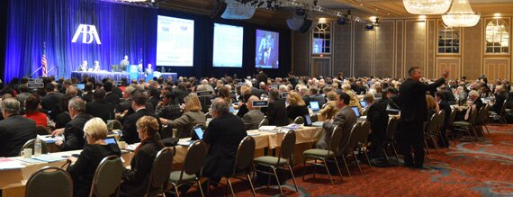 The ABA House of Delegates debates on policy proposals at the Midyear Meeting in Dallas.